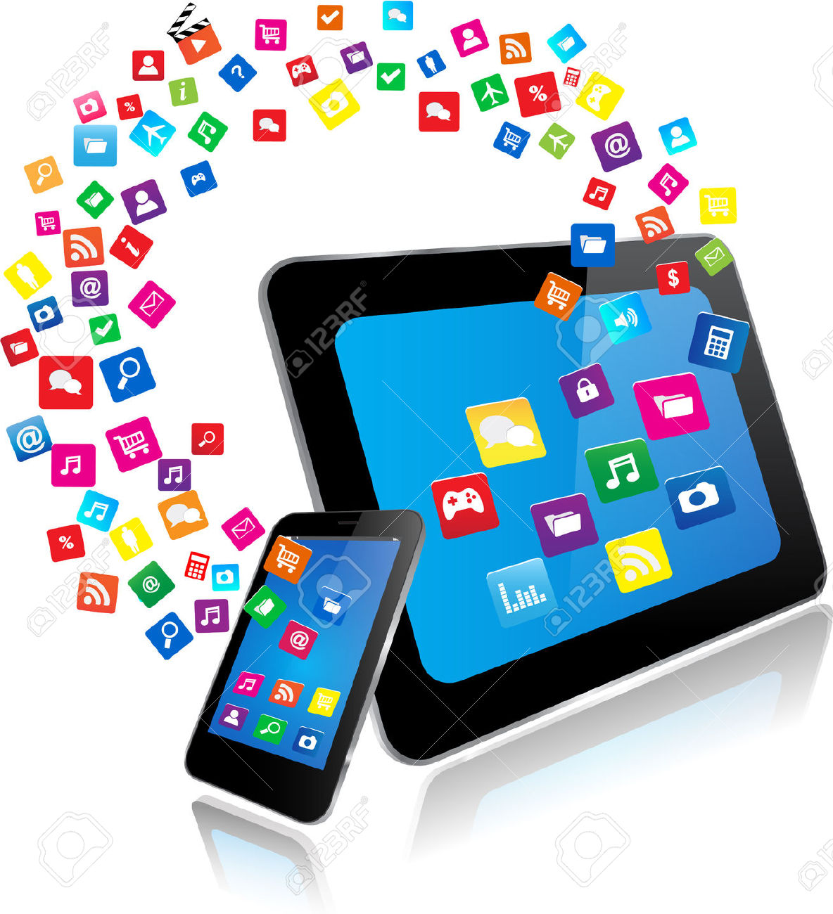 Tablet-PC-and-Smart-Phone-with-apps-Stock-Vector-mobile-learning-apps