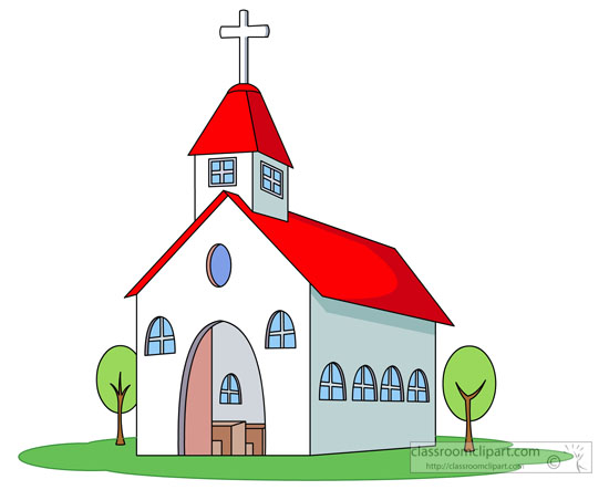 white church red roof cross clipart